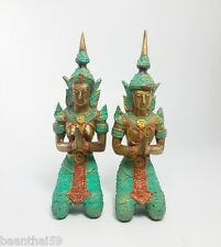 Pair of Thai Guardian Angel Theppanom Buddhist Sculpture Brass Statue Old Amulet
