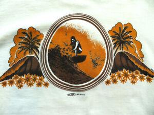1970's Hawaiian SURFER beach Hawaii surfing T-Shirt LARGE 1973 Crazy shirts EXC