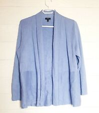 Talbots Womens L Sky Blue Knit Sweater/Cardigan Open Front L-Sleeve Blouse/Top