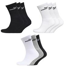 Puma Mens Logo Sports Crew Multiple Pack Socks Black White Grey Socks -All Sizes