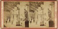 Italia Pisa Camposanto Statue Foto Van Lint c1865 Stereo Vintage Albumina