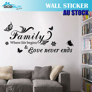Wall Stickers Removable Family Love Never ends Living Room Decal Art Decor