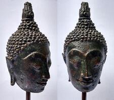 Ancienne Tête de bouddha soclée en bronze Royaume de Sukhothaï Thaïlande