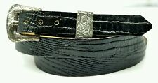 NEW BLACK HATBAND Genuine LIZARD Skin Silver w/ Buckle Western Cowboy Hat Band