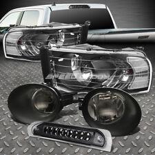 BLACK HEAD LIGHT+LED 3RD BRAKE+SMOKED FOG LAMPS+WIRING KIT FOR 02-05 DODGE RAM