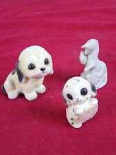 SET OF 3 ITEMS 2 FLOCKED CERAMIC PUPPIES AND 1 PORCELAIN UNICORN VINTAGE COLLECT