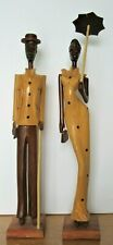 "BEAUTIFUL AFRICAN WOOD CARVED MAN 15¼"" TALL & WOMAN 16¾"" TALL VERY WELL DESIGNED"
