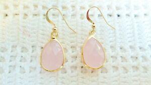 Genuine Pink Jade Teardrop Earrings Wrapped In 14K YGF