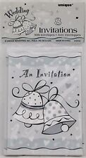 Wedding Bells Invitations 8 Pack Cards & Envelopes White & Gray Unique New