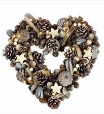 CHRISTMAS HEART WREATH GOLD & NATURAL DOOR & LED LIGHTS XMAS FESTIVE