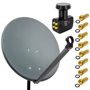 PremiumX SAT Anlage 80cm Satellitenschüssel Spiegel Antenne Quad LNB HDTV UHD 4K