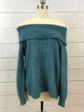 Moda International Angora Fuzzy Off Cold Shoulder Sweater Womens XL Turquoise
