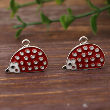 NEW 3 x Unsual Red Enamel Hedgehog Antique Silver Tone Charms 21x16mm FREE P&P