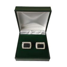 Leatherette Cufflinks & Brooch Box Green 50pcs