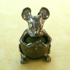 Vintage English Sterling Silver Good Luck Lucky Touch Wood Mouse Charm