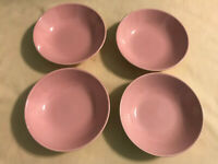 """Set of 4 Vintage Mid Century Modern PINK SPECKLED BERRY 5 1/4"""" Pottery Bowls"""