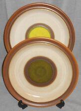 Set (2) Denby POTTERS WHEEL PATTERN Dinner Plates GREEN/GOLD