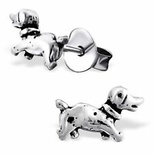 Children's Kids Girls 925 Argento Sterling Cane Orecchio Borchie in scatola regalo gratuito