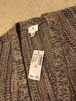 NWT~ Dressbarn XS Cardigan Sweater~No Button Design~Knitted~Teal,Pink And Gray