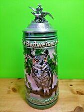 Vintage 1994 Anheuser Busch Ceramic Birds of Prey Horned Owl Lid Stein Germany