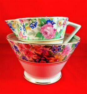PALISSY WARE Milk Jug and Sugar Bowl FLORAL CHINTZ China ART DECO Vintage RARE