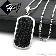 """24""""MEN Stainless Steel 2.5mm Silver Bead Chain Necklace ICED DogTag Pendant*PB43"""