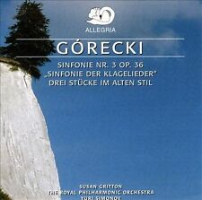 """HENRYK G¢RECKI: SINFONIE NO. 3 """"SINFONIE DER KLAGELIEDER""""; DREI STCKE IM ALTEN"""