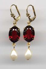 Bohemian GARNET cut-crystal PEARL TEARDROP Earrings 14K Gold gp Levers Vtg Czech