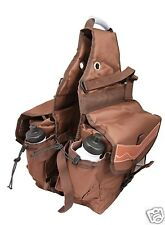Multi Pockets Horse Saddle Bag with Water Bottles 600D Canvas Nylon Brown