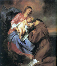 Oil painting Anthony van Dyck - The Vision of St Anthony in sunset Hand painted