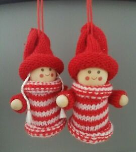 BOY & GIRL Scandinavian Christmas tree decoration WOOD & KNITTED Nordic NEW