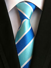 Classic Mens Necktie Silk Blue Teal Green Striped Ties Wedding Business XT-068