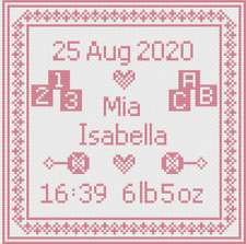 Pink Square Baby Birth Sampler Cross Stitch by Florashell