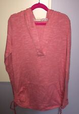 ROXY Hooded Long Sleeve Top Women's Medium Red White Stripe Beach Tunic