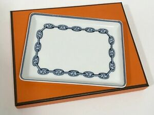 Hermes Plate Square Chaine dAncre Porcelain Tray Tableware Authentic Ornament