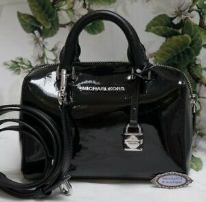 NWT MICHAEL KORS KIRBY XS MINI Satchel Crossbody Bag In BLACK Patent Leather