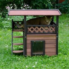 Outdoor Pet Shelter Cat Den Garden House Wood Small Dog Kennel Rabbit Indoor