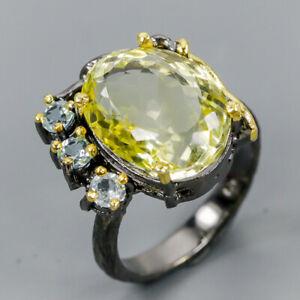 Vintage SET14ct+ Natural Lemon Quartz 925 Sterling Silver Ring Size 8.5/R121534