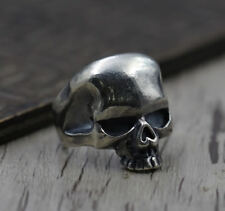 925 sterling silver skull  Retro Biker Rocker men ring Rings adjustable P1589