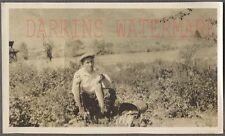 Vintage 1920s Photo Pipe Smoking Man w/ Fishing Pole & Fish Creel 725529