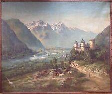 Francisque DURAND École Suisse 19° Paysage supposé du Valais Huile sur Toile