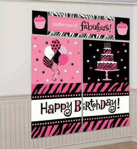 ANOTHER YEAR OF FABULOUS Scene Setter BIRTHDAY party wall Backdrop Animal Prints