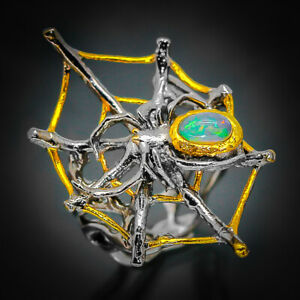 Natürlicher OPAL Spider 925 Sterling Silber Ring/rvs63 натуральный Опал