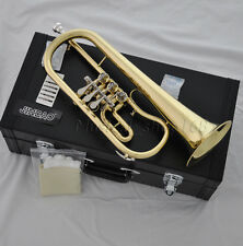 Professional gold Bb Rotary Flugelhorn With Case mouthpiece