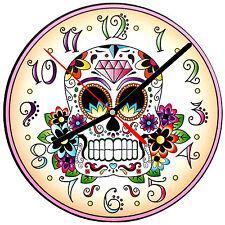 """8"""" WALL CLOCK Sugar Skull 19 Dia de los Muertos Day of the Dead Halloween Tattoo"""