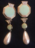 Vintage Mint Green Rhinestone Modernist Dangle Clip Earrings