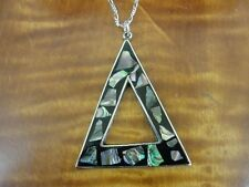 Large Triangle Abalone Silver Plate Pendant Sterling Silver Chain Necklace