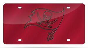 Tampa Bay Buccaneers NFL Flag Red Laser Tag License Plate
