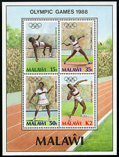 Malawi 517a S/S,MNH.Summer Olympics,Seoul.High jump,Javelin,Tennis,Shot put,1988