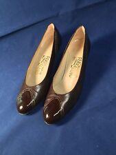 Vintage Salvatorre Ferragamo Womens Pumps Brown Calf Leather Heels 7AA